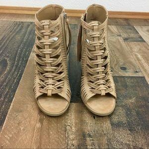 Dolce Vita DV Tan Heel Sandals with Size Zipper